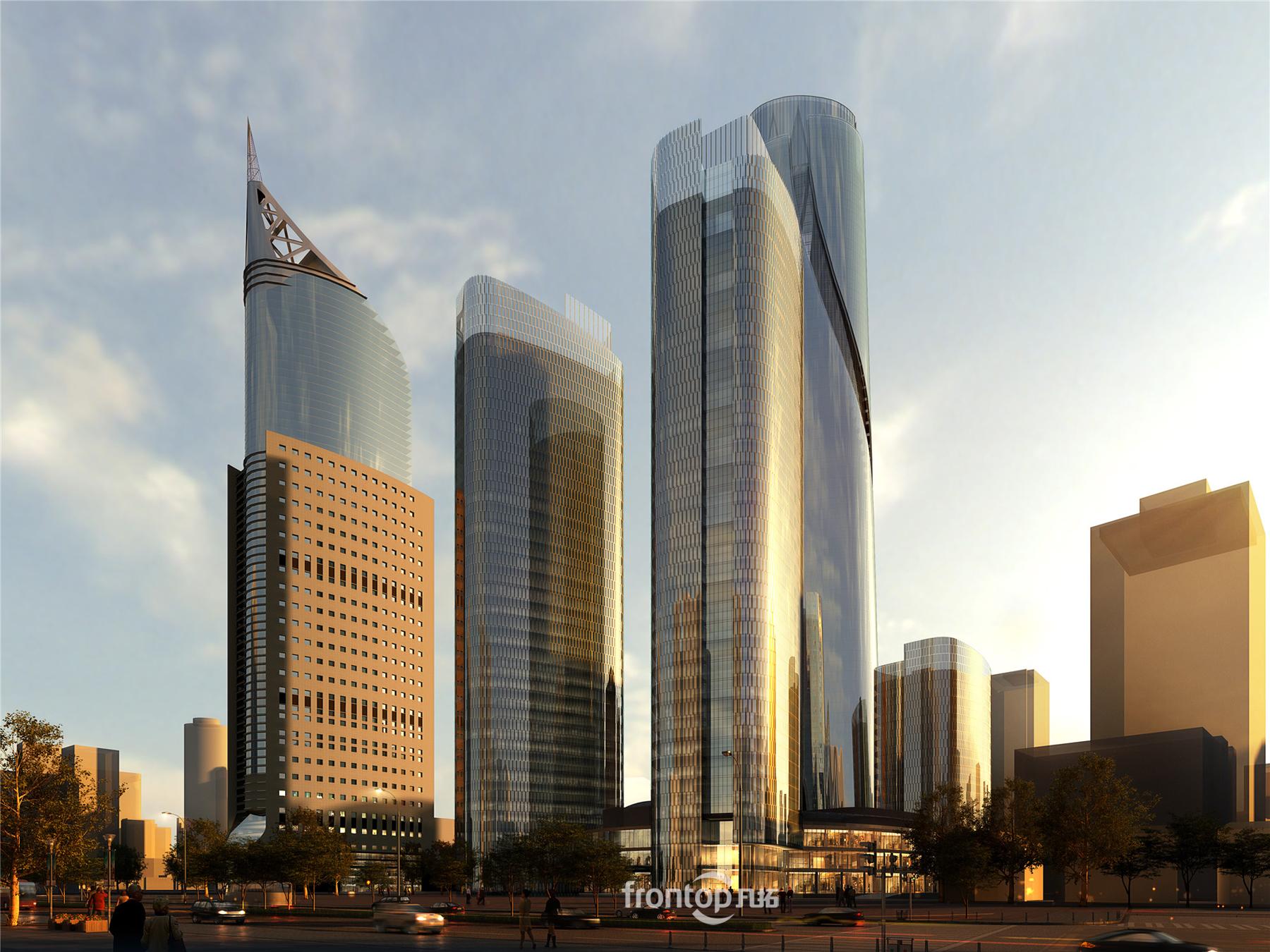 印尼雅加达项目,超高层办公楼效果图,玻璃办公楼效果图