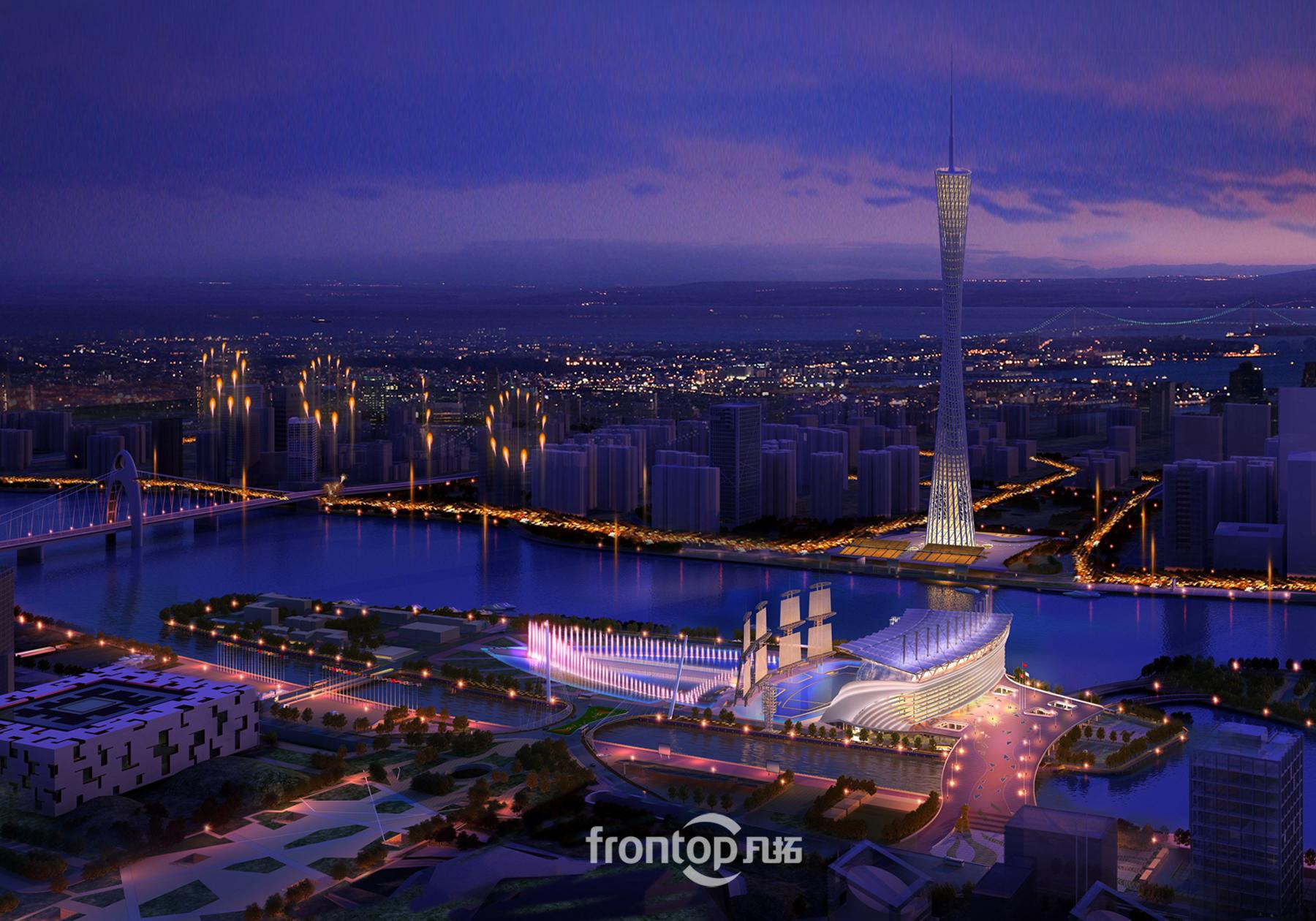 海心沙, 广州标志性建筑, 鸟瞰效果图, 广州塔